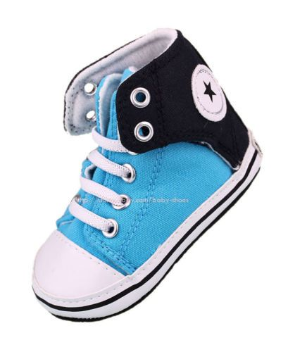 Baby Boy Blue High Top Sneakers Canvas Crib Shoes Size Newborn to 18 Months
