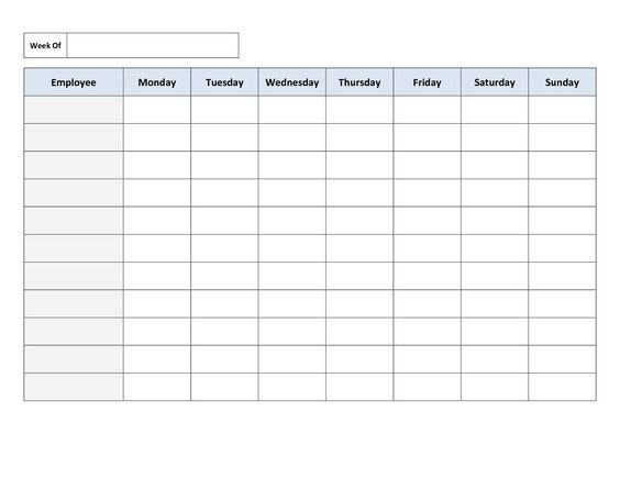 Free Printable Work Schedules – Blank Schedule Template