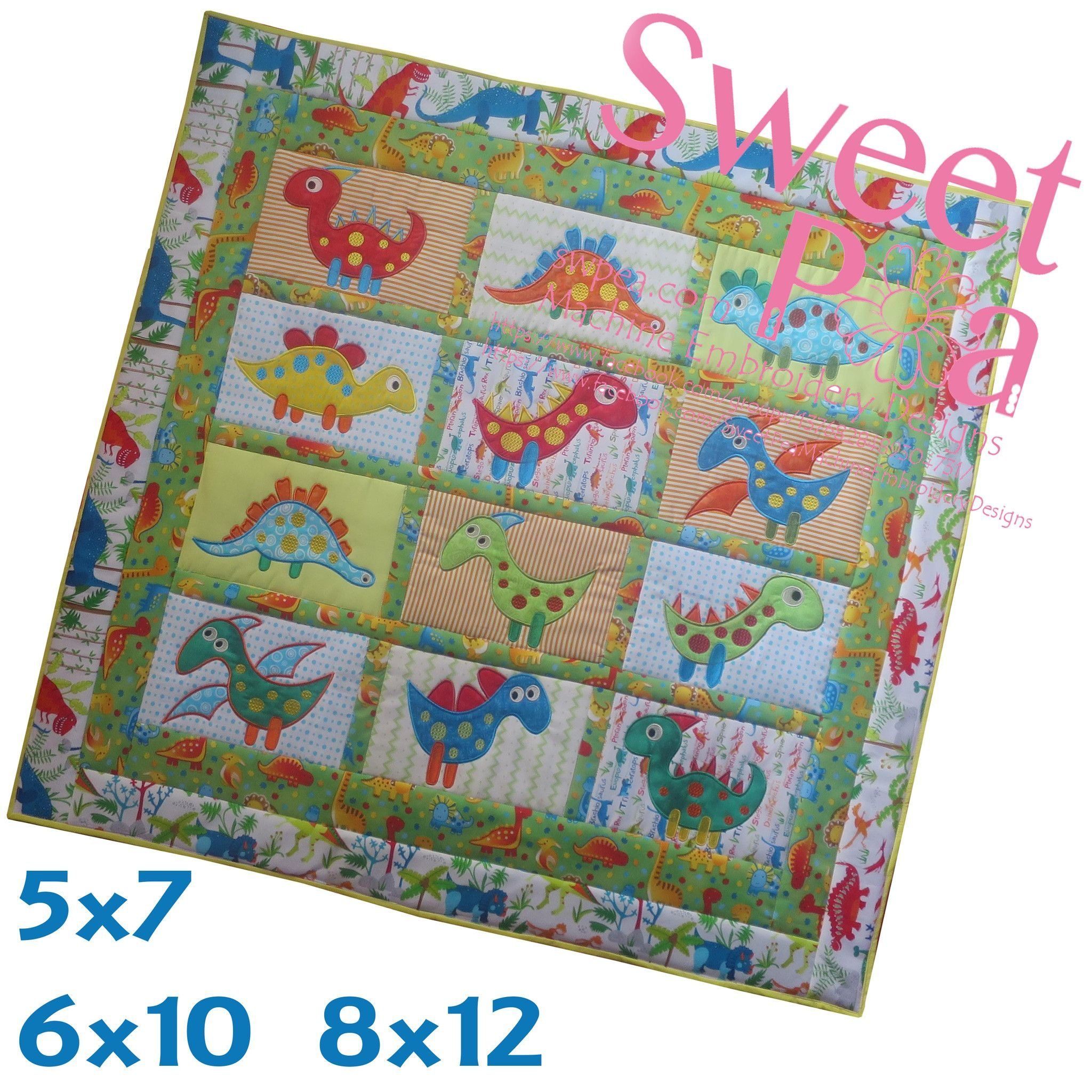 Dinosaur quilt in the hoop 5x7 6x10 8x12 machine embroidery design