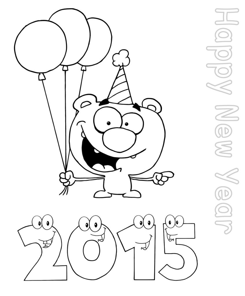 New Year Coloring Pages For Kindergarten : Happy new year worksheets for kindergarten coloring
