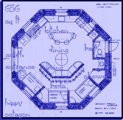 straw bale house plan (612 sq. ft.), round little but perfect for