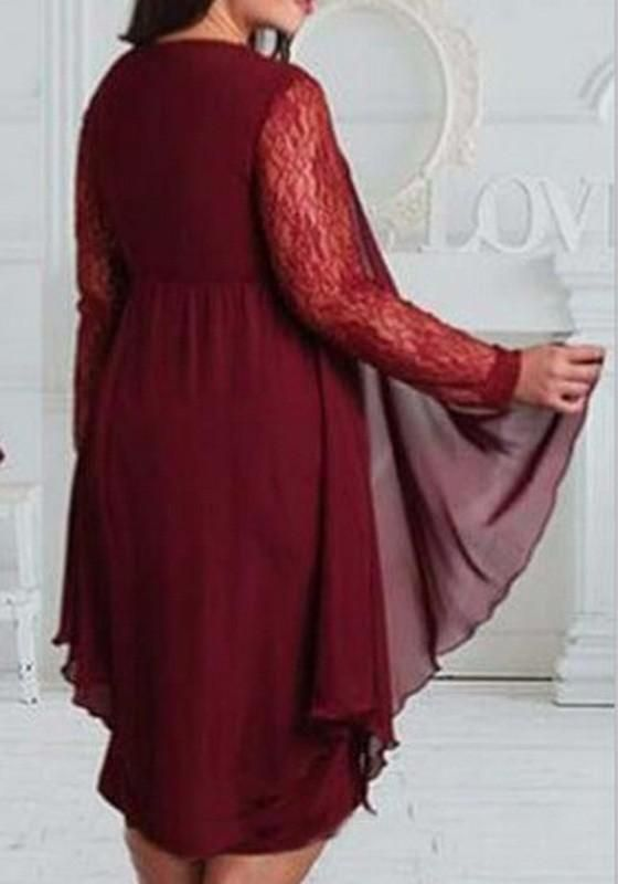 12ecea54dbd24 New Burgundy Patchwork Lace Irregular Round Neck Long Sleeve Plus Size Midi  Dress