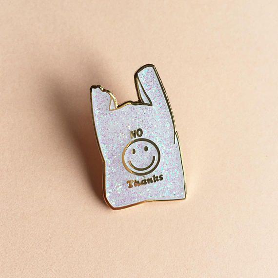 No Thanks Plastic Bag Enamel Pin Badge Lapel Pin White Glitter