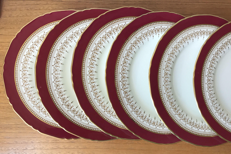 Royal Worcester \ Regency\  Ruby Vintage Plates Raspberry Reddish Pink and Brown Salad Plates & Royal Worcester \