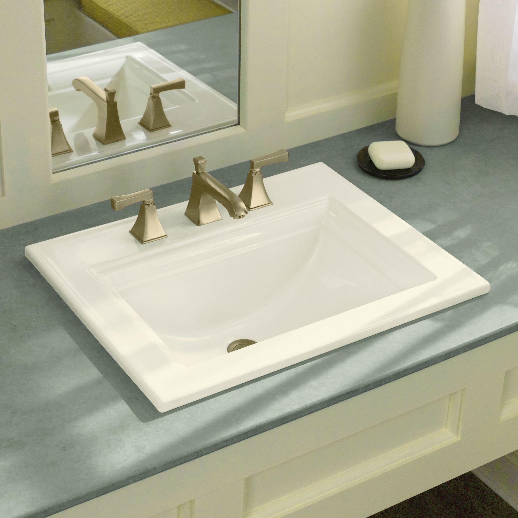 Memoirs® Ceramic Rectangular Drop-In Bathroom Sink with Overflow ...