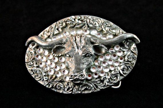 Longhorn Belt Buckle, EGE 93 Belt Buckle, Vintage Pewter Longhorn Belt Buckle, Longhorn Rhinestone Buckle, Longhorn Pewter Belt Buckle