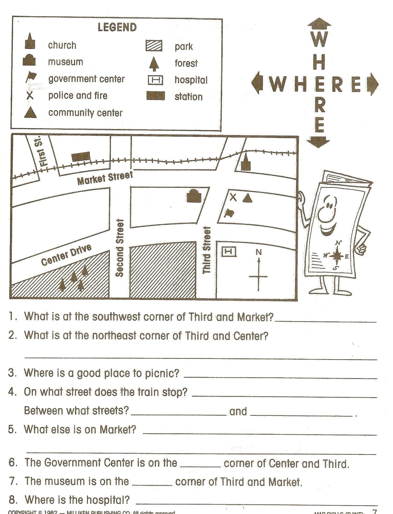 Map Worksheet For First Grade Free 1st Grade Social Stu S Worksheets 1st In 2020 Social Studies Worksheets Map Skills Map Skills Worksheets