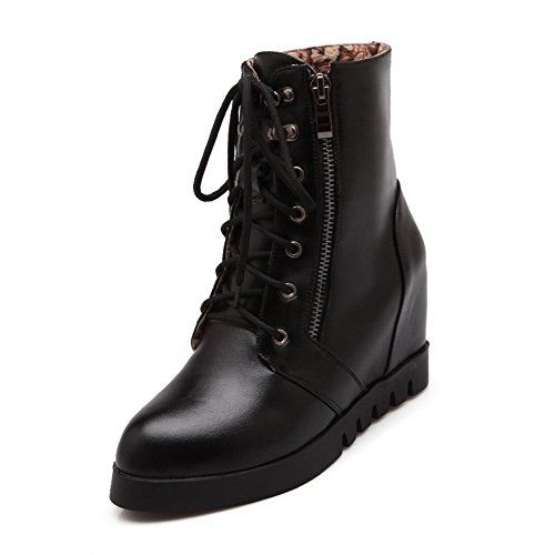 AmoonyFashion Womens Soft Material Round Closed Toe Solid Lowtop HighHeels Boots Black 41 ** See this great product.(This is an Amazon affiliate link)