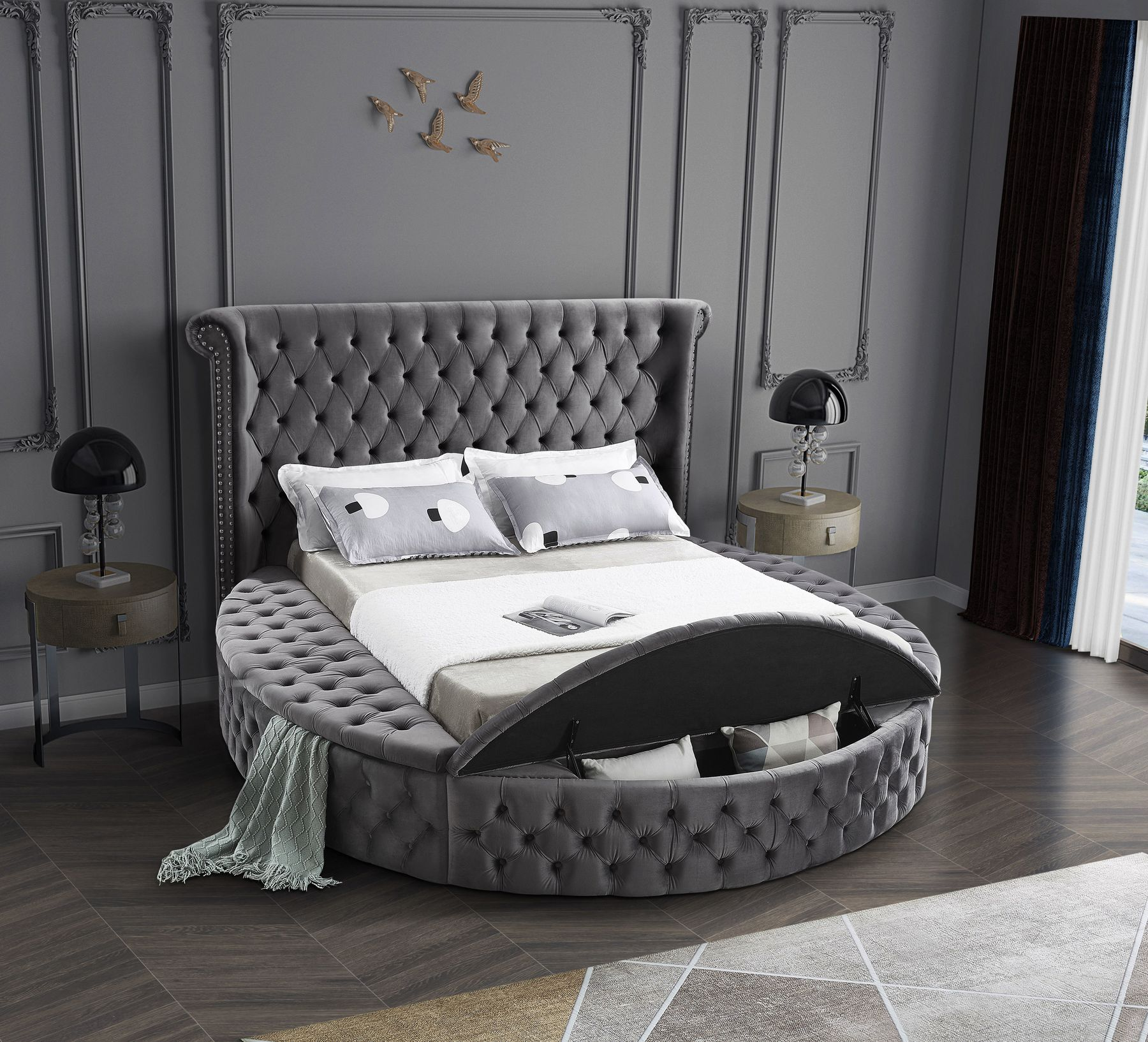 Luxus (Gray) price for Full Size Bed, Elegant and eye-catching, the stunning gray velvet Luxus Full Bed (3 Boxes) is the perfect addition to any space. Variety of colors available, standard mattress sizes fit perfectly. You don't need anything else except the mattress for this bed: it has built-in platform for support.Full Size Bed W87