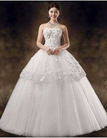 Strapless lace appliques sequins beaded ball gown full length wedding dresses  TB-046