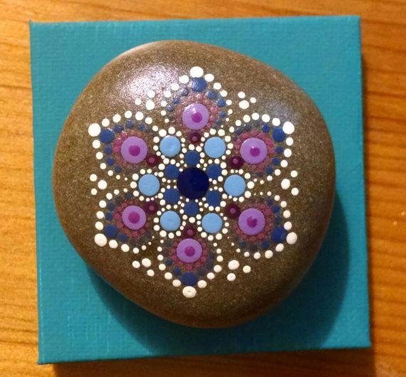 Mini Mandala fleur Art peint roches coloré par P4MirandaPitrone