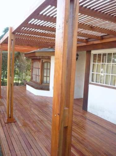 Pergolas de madera dura techo tipo deck 250mt2 4093 for Techos de madera exterior