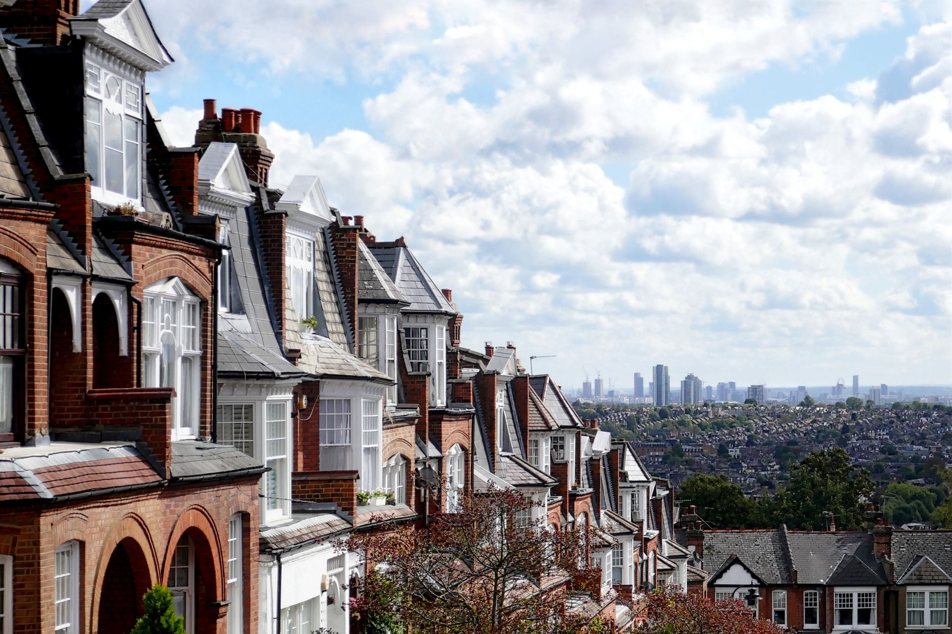 London street with a view of the city