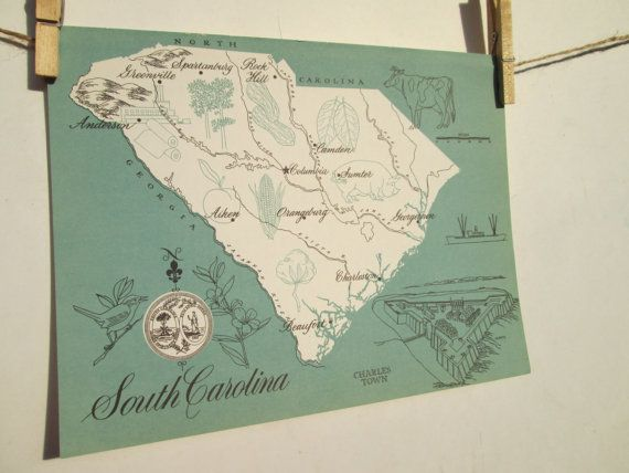 Vintage 1960s Original State Graphic Picture by TheVintageBarnOwl, $10.00