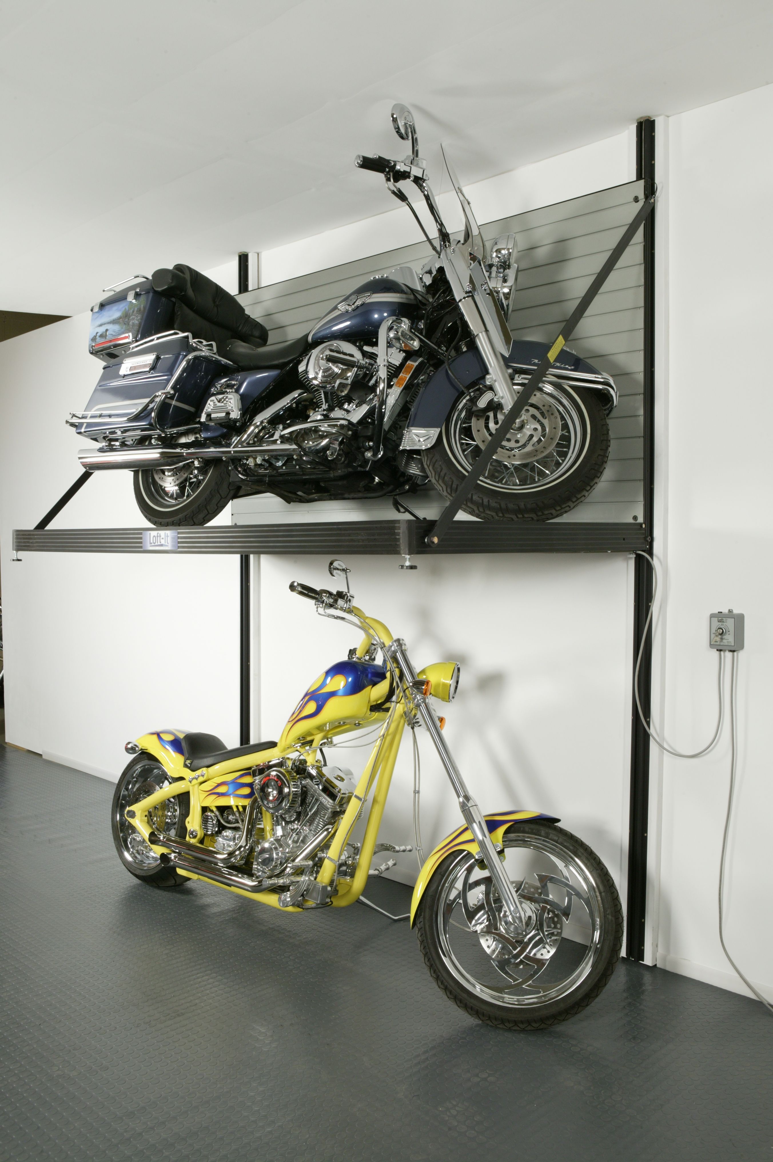 lift white horizontal motorized garage mg bike double storage system shop