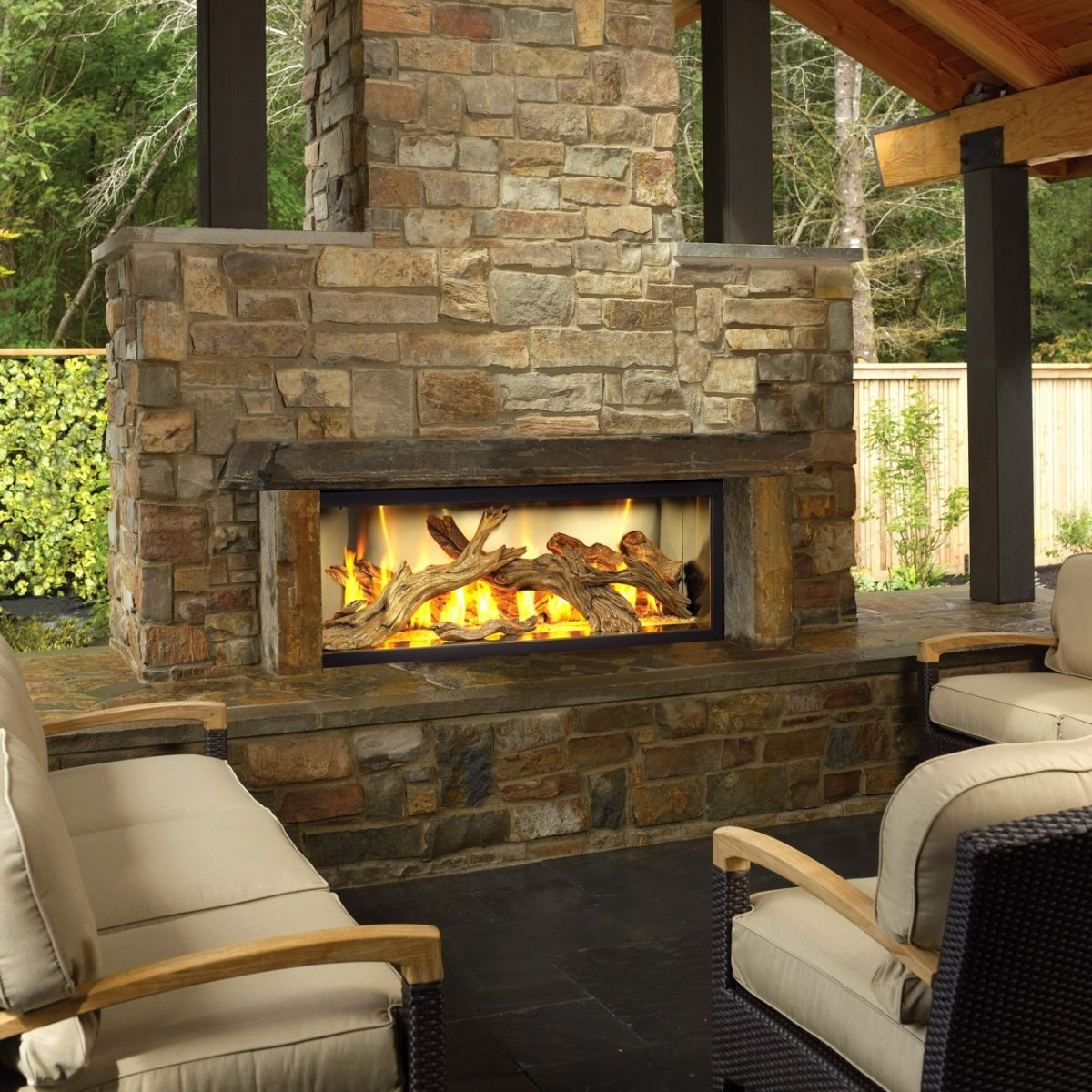 Bon Amazing And Awesome Outdoor Fireplaces Design Ideas With Cozy Grey Sofa  Furniture And Stone Fireplace Design