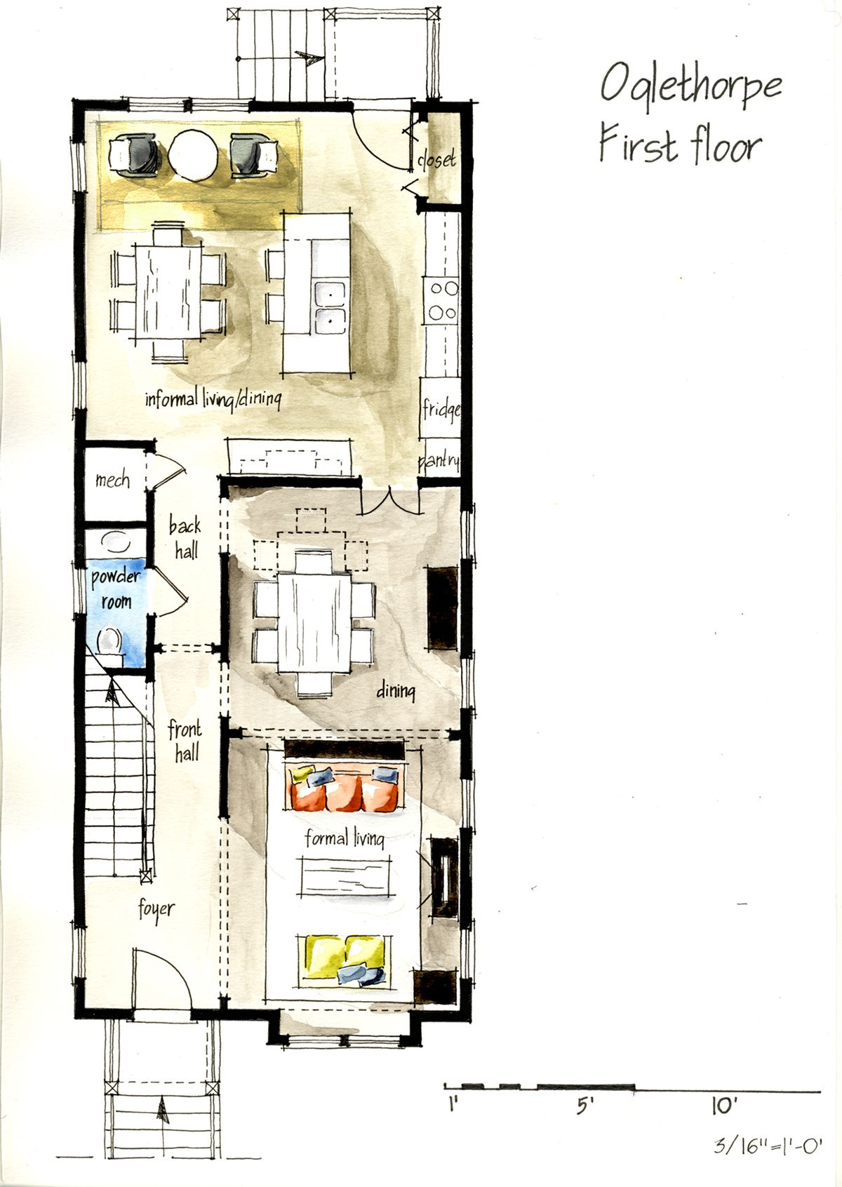 Real estate watercolor 2d floor plans part 1 on behance for Watercolor house plans