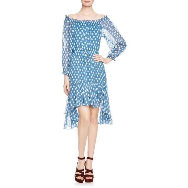 Diane von Furstenberg Camila Dress ($468) ❤ liked on Polyvore featuring dresses, dotted batik blue, blue polka dot dress, batik print dress, blue dress, blue dot dress and diane von furstenberg dresses