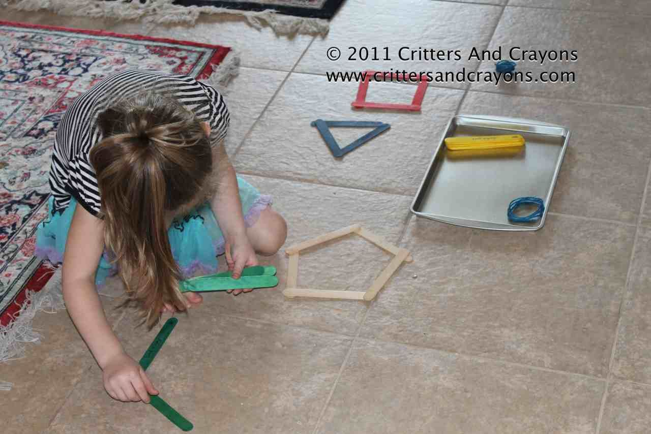 Shapes With Popsicle Sticks Or Any Sticks Includes