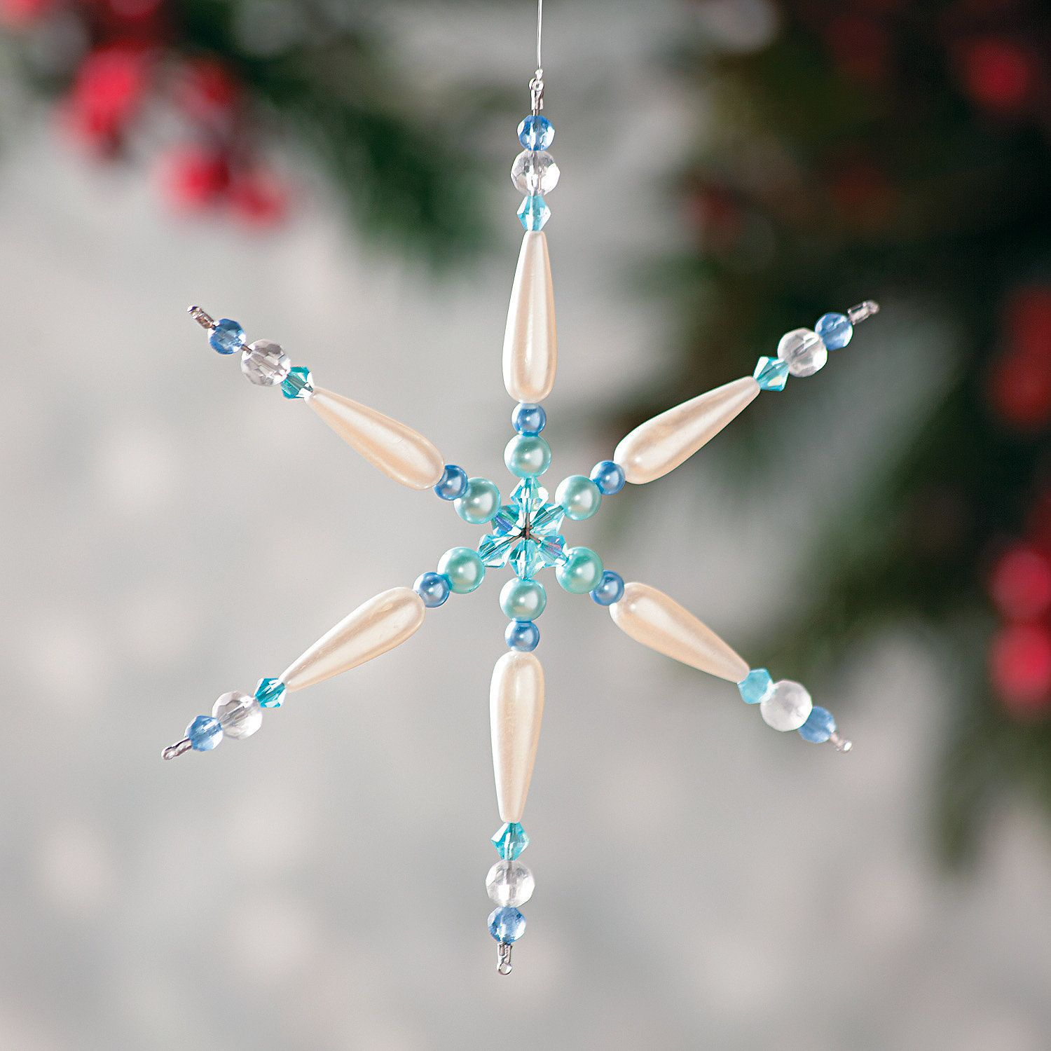 Beaded Wire Snowflake Wire Ornaments Snowflakes Winter Crafts