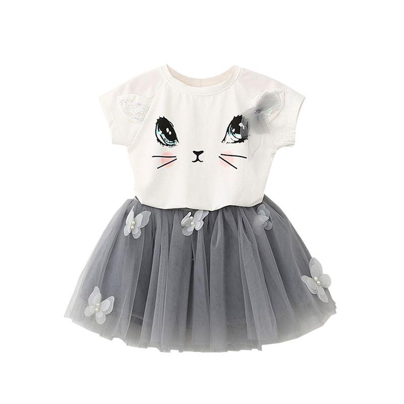 6a1910ed 2Pcs/Set Summer Kid Girls Cute Cat Short Sleeve T-Shirts+Net Veil ...