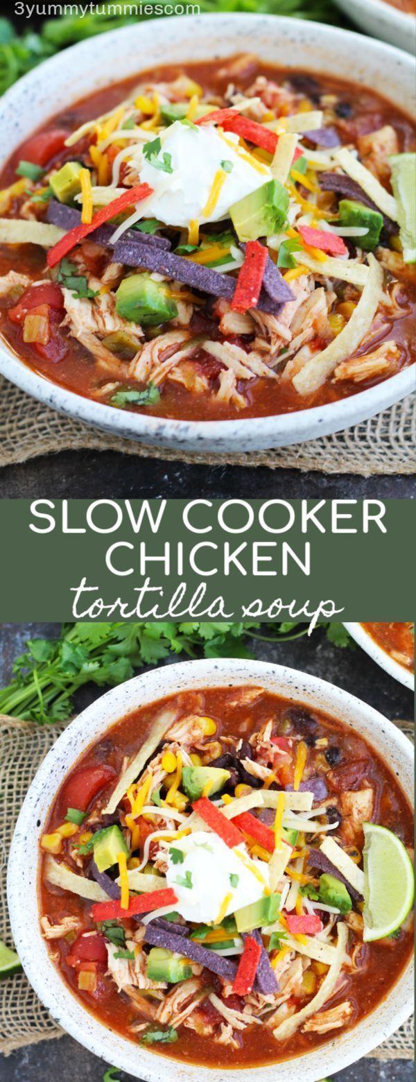 Diese herzhafte Slow Cooker Hühnertortillasuppe ist perfekt für Unterhal ... #chickentortillasoup