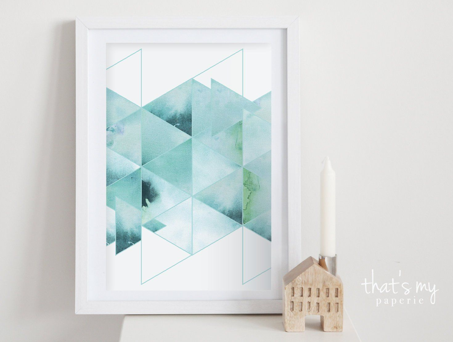 Triangles Sea Watercolor Poster 20 x 30 cm #wasserfarbenkunst