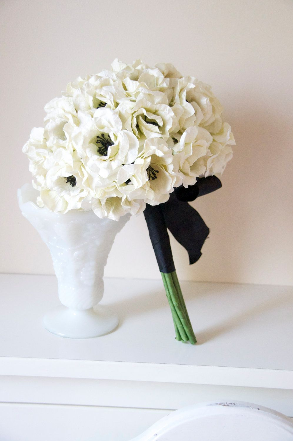 Paper bouquet paper flowers wedding black and white bridal