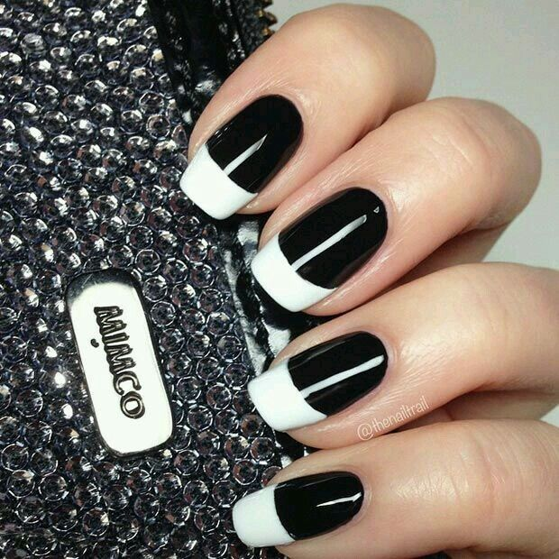 The new french manicure black nails white tips so sophisticated black nails white tips so sophisticated and edgy nail design prinsesfo Choice Image