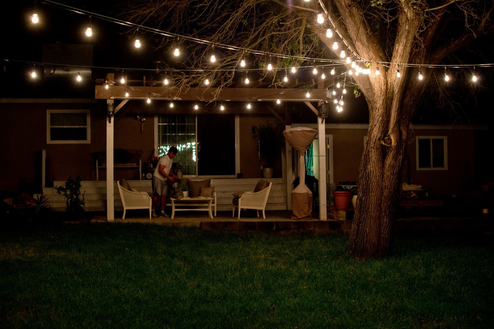 Outdoor String Lights Pinterest : Domestic Fashionista: Industrial Vintage Backyard Lighting The Great Outdoor... Spaces ...