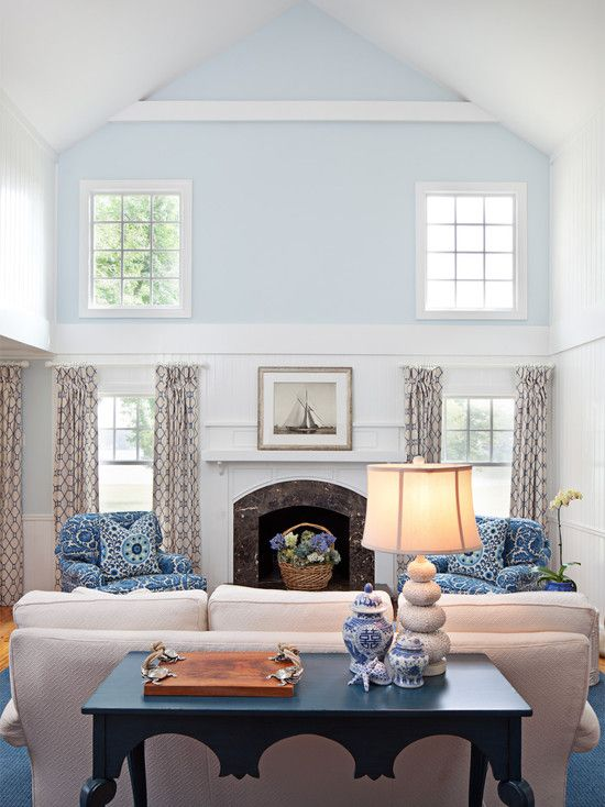 "traditional living room ""neutral colors"" + blue design, pictures"