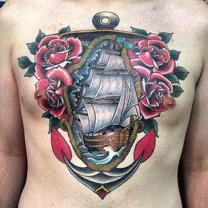 Tatuaje Americano Tradicional tatuaje velero-con-rosas-estilo-tradicional | tradicional americano