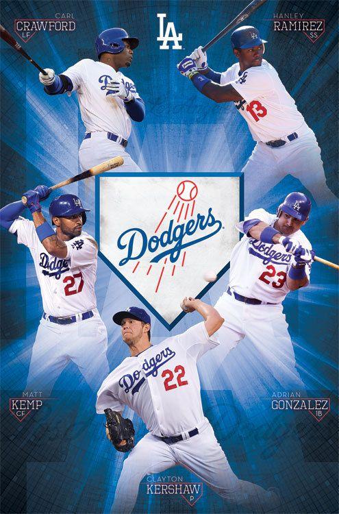 mlb la los angeles dodgers team poster