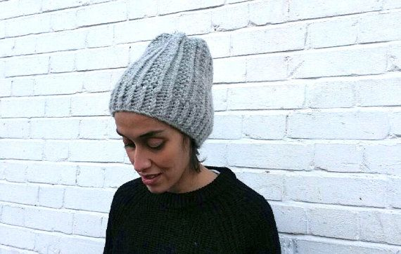 Chunky Light Grey Hat/ Knitted/ Slouchy / Elena by ClaireDAlbert