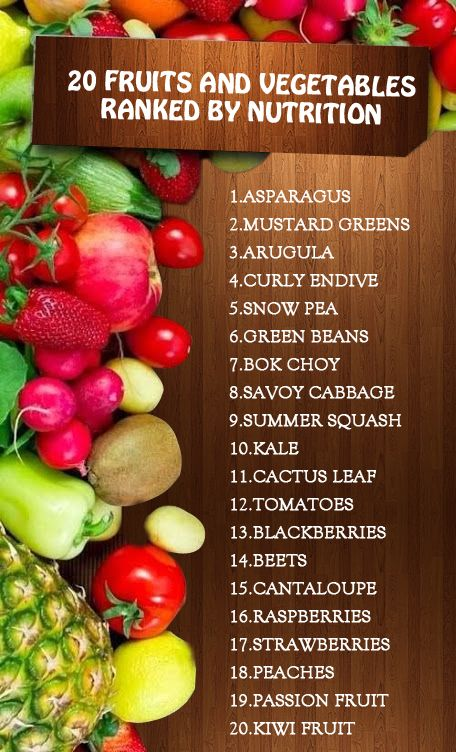 nutritional value of fruits and vegetables pdf