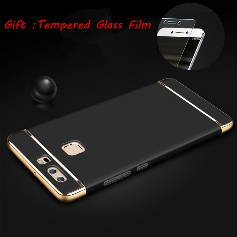 Luxury for huawei p9 3-IN-1 case Shockproof Frosted Shield Hard Back Cover for huawei p9 Electroplating plating phone funda etui