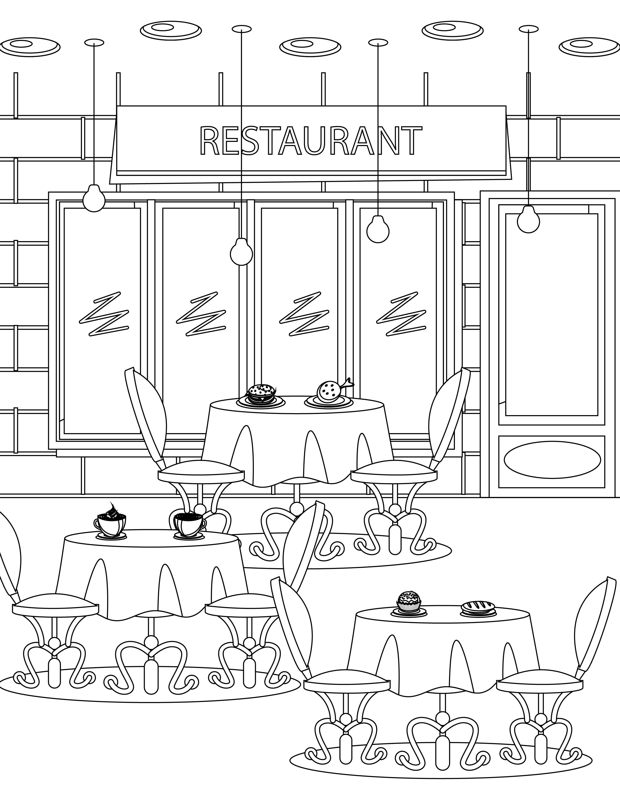 Imprimer Coloriage Tous Au Restaurant 2016 Coloring Pages Adult