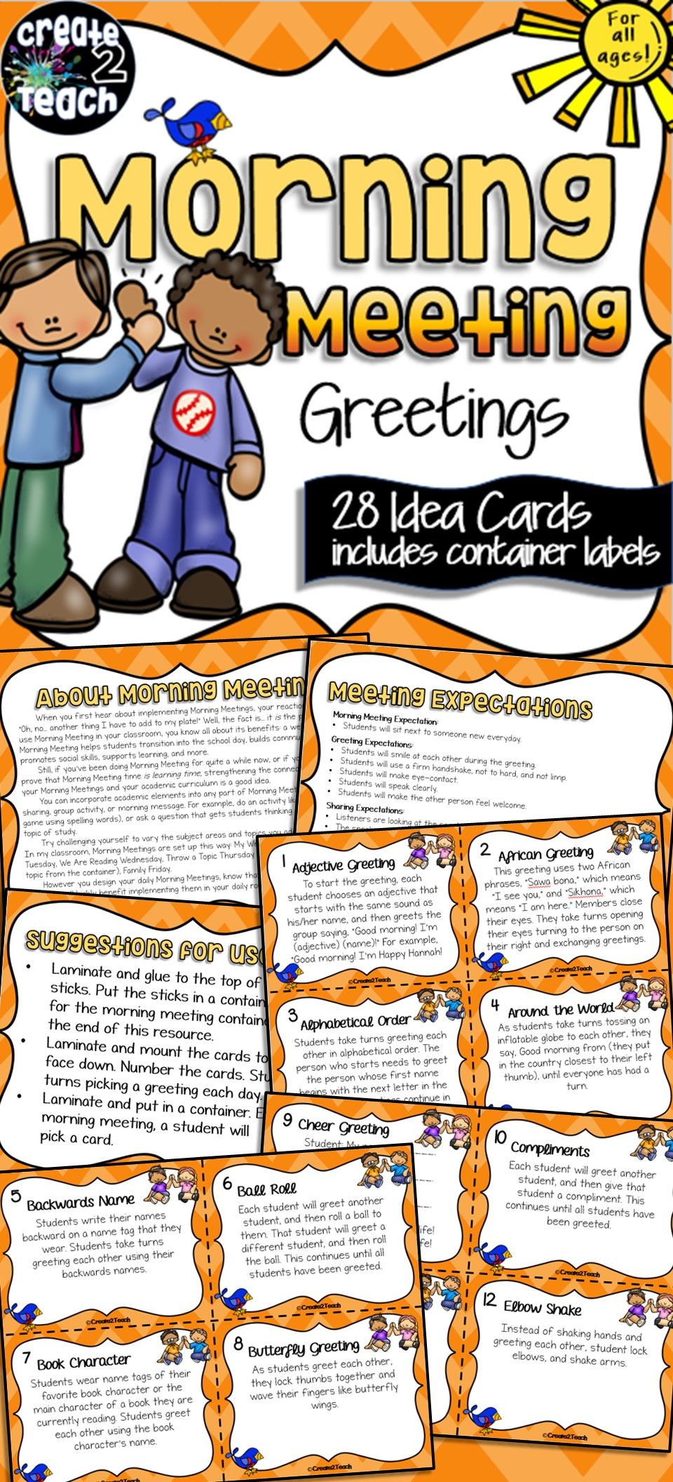 Morning meeting greeting idea cards students learning and morning meeting greeting idea cards kristyandbryce Image collections