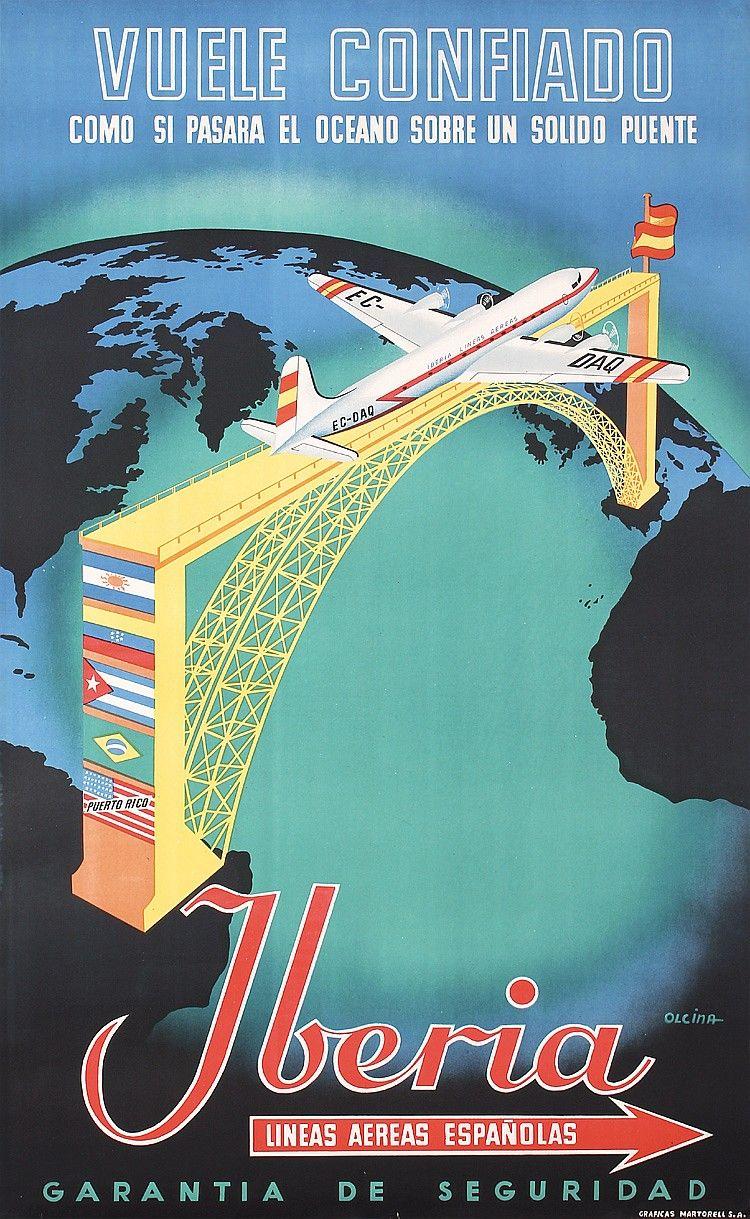 Original 1950s Spanish Airline Travel Poster IBERIA ...