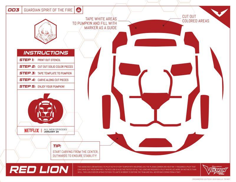 Halloween Voltron Red Lion Stencil Halloween stencils