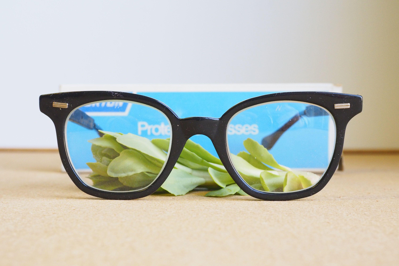 Vintage Eyeglasses 1970s/Glasses/New Old Stock/Safety Googles/ Black ...
