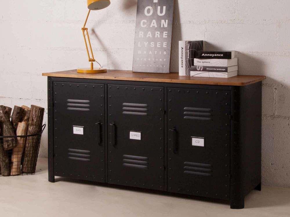 Buffet bas 3 portes en métal noir et plateau bois L150cm DECOCLICO ...