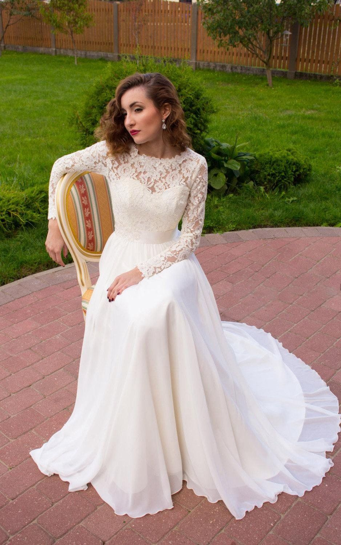 Long sleeve chiffon lace satin wedding dress long sleeve