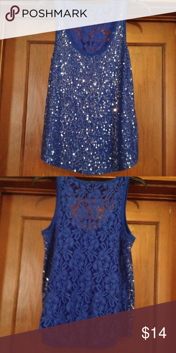 Express blue sequin and lace top size M Express blue sequin and lace sleeveless top size M. Missing tag Express Tops Blouses