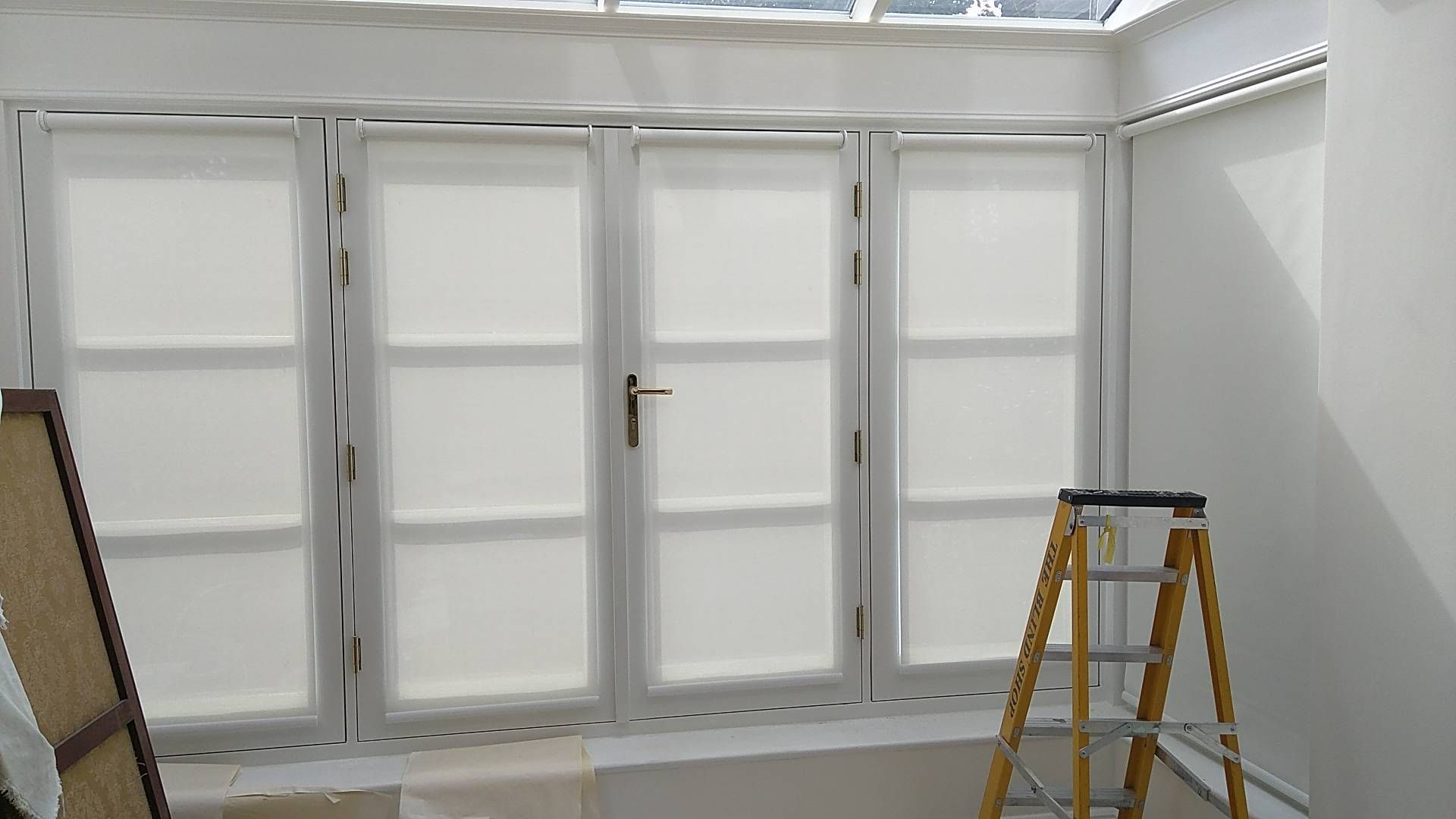door blinds roller. Sunscreen Roller Blinds Fitted To French Doors And Windows In A Home Library | Richmond, London White Made Measure UK Measuring Door