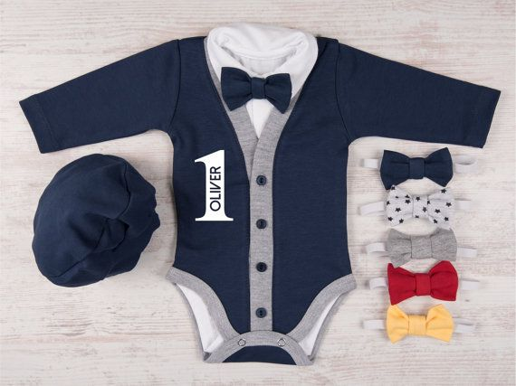 1st BIRTHDAY BOY OUTFIT, Personalized Navy Cardigan, Bodysuit, Hat ...