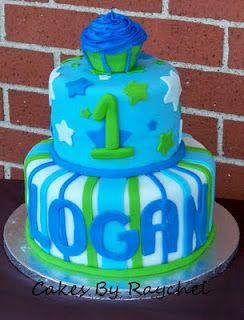 1st Birthday Cupcake Cake for Boys