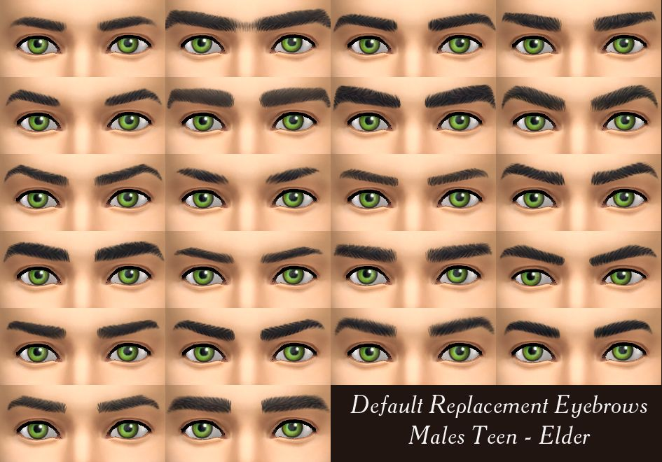 Mod The Sims Default Replacement Eyebrows For Males Aged Teen
