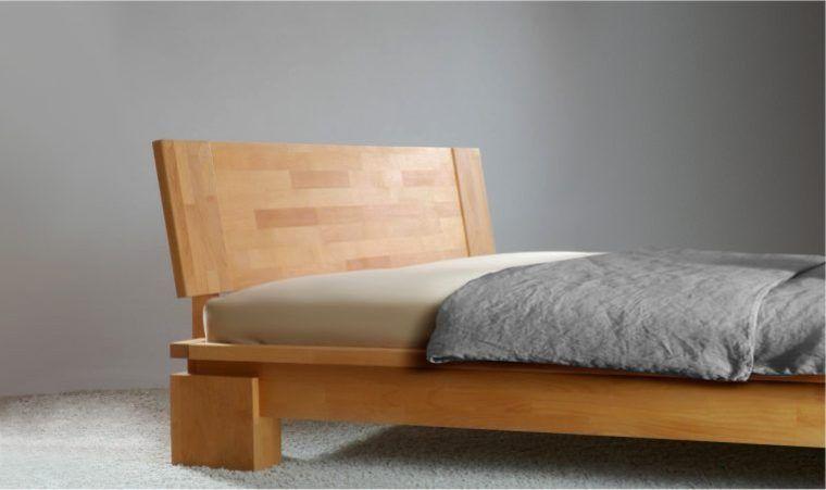 Lit 2 places haut de gamme Finition Naturel huilé Chambre en bois