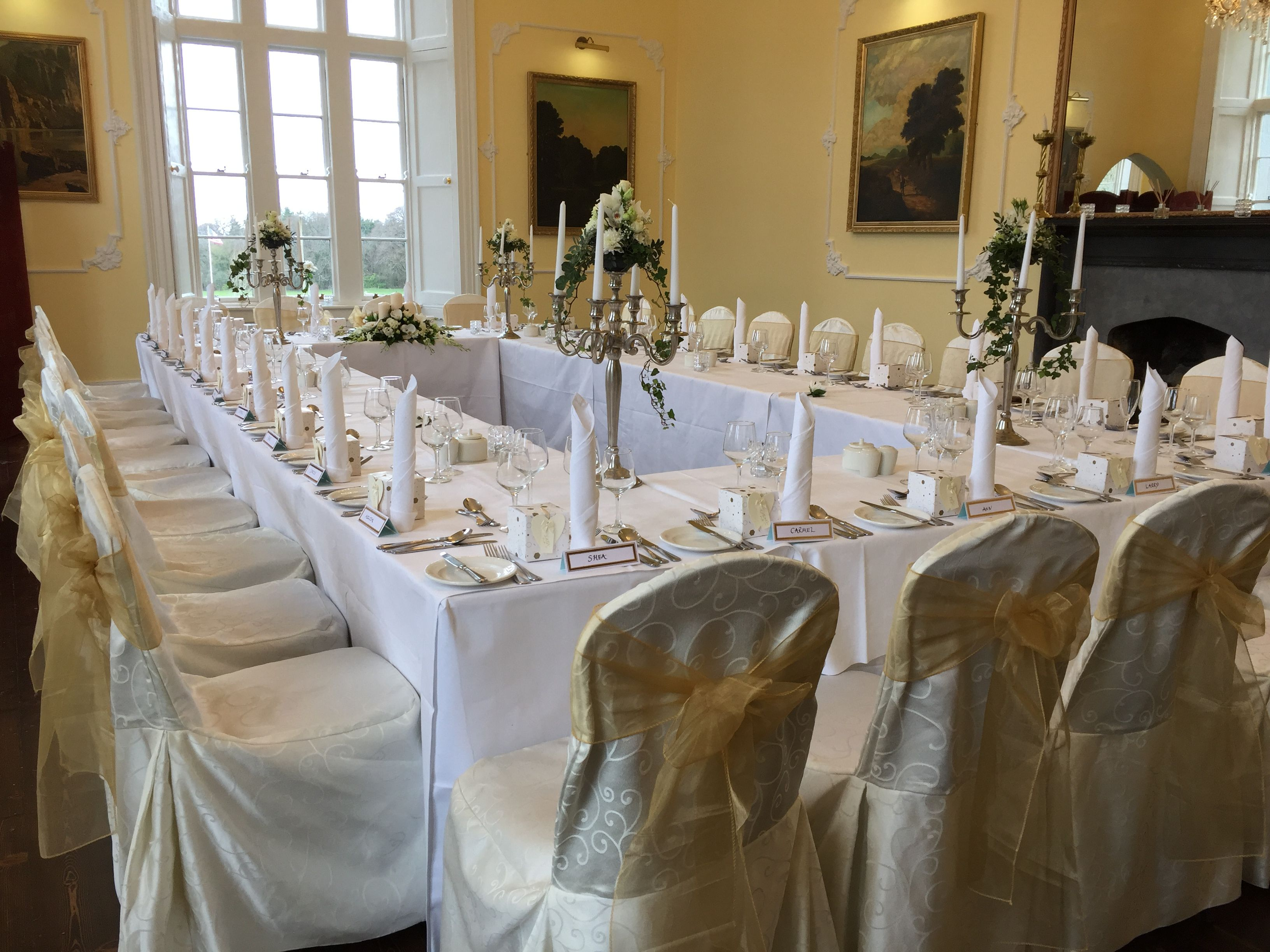 Intimate Wedding wedding Drawing Room Ivory chair covers